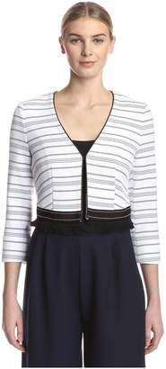 Beatrice. B Women's Striped Jacket with Fringe