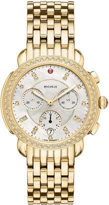Michele 38mm Sidney Diamond Chronograph Watch, Gold