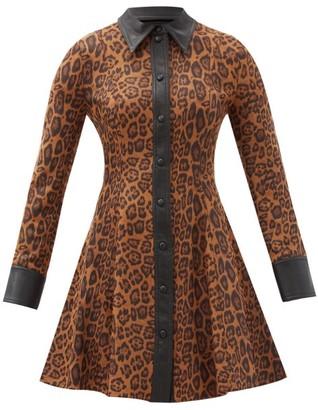 Stand Studio Nara Leopard-print Faux Suede Mini Shirt Dress - Leopard