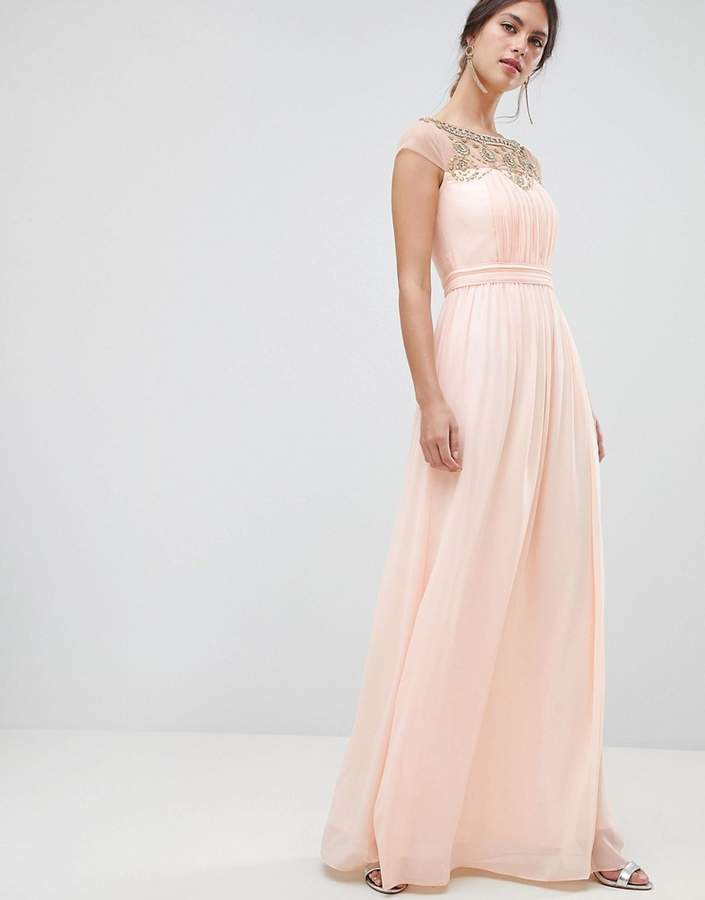 Minuet Plunge Maxi Dress With Embellished Detail