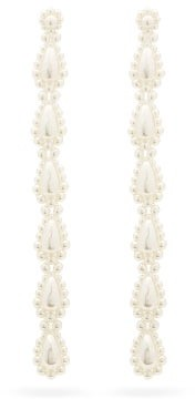 Simone Rocha Drop Extra-long Faux-pearl Earrings - Pearl