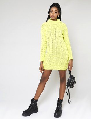 Public Desire Neon Roll Neck Cable Knitted Dress