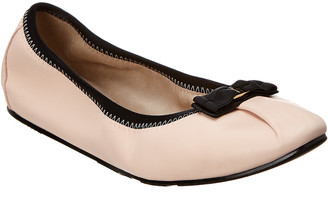 Salvatore Ferragamo My Joy Foldaway Leather Ballet Flat