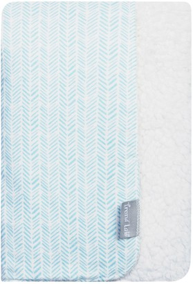 Trend Lab Aqua Herringbone Flannel & Faux Shearling Baby Blanket