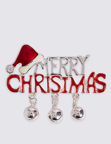M&S Collection Merry Christmas Brooch