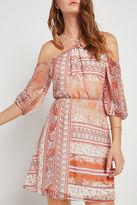 BCBGeneration Paisley Floral Print Cold-Shoulder Dress - Red