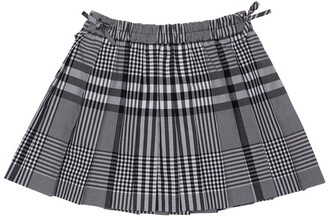 Burberry Pleated Check Cotton Skirt