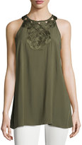 Max Studio Embroidered-Neck Sleeveless Top, Army