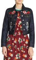 Maje Embroidered Raw Denim Jacket