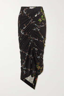 Preen by Thornton Bregazzi Melissa Asymmetric Ruched Floral-print Stretch-crepe Skirt - Black