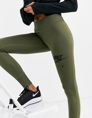 Nike Running Air Running crop leggings in khaki-Green