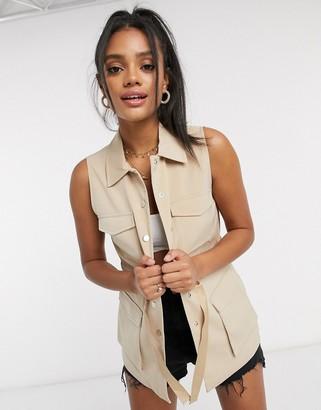 Vero Moda utility waistcoat with tie waist in beige