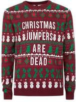 Topman Burgundy Christmas Jumpers Are Dead Ugly Sweater