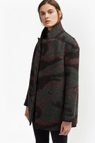French Connection Camo Wool Felt Coat
