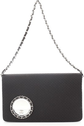 Chanel Vanity Flap Clutch on Chain Embellished Quilted Satin