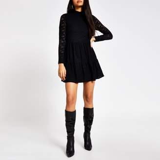 River Island Womens Black lace high neck mini smock dress