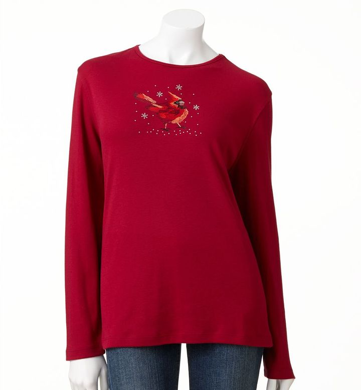 Mccc cardinal embellished holiday tee - women's