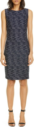 St. John Two-Tone Float Knit Tweed Sheath Dress