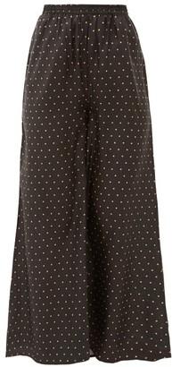 Mes Demoiselles Biga Polka-dot Silk-satin Wide-leg Trousers - Black Print