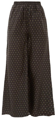 Mes Demoiselles Biga Polka-dot Silk-satin Wide-leg Trousers - Womens - Black Print