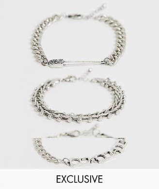 Reclaimed Vintage inspired bracelet chain pack with chain interest exclusive at ASOS-Silver