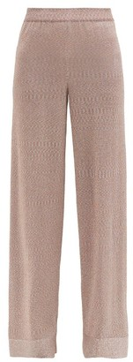 Missoni Moire-effect Knitted Wide-leg Trousers - Light Pink