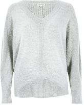 River Island Womens Grey ribbed panel batwing sweater