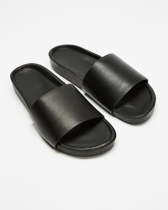 Assembly Label - Women's Black Flat Sandals - Single Strap Slides - Women's - Size 36 at The Iconic