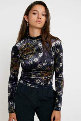 Urban Outfitters Tie-Dye Velvet Long-Sleeve Top - purple XS at