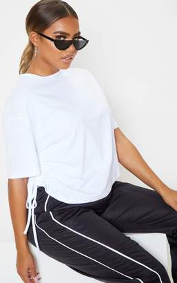 PrettyLittleThing White Ruched Side T Shirt