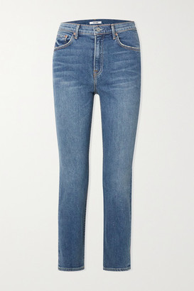 GRLFRND Reed Cropped High-rise Straight-leg Jeans - Mid denim