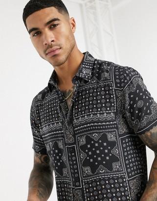 New Look short sleeve bandana print shirt in black