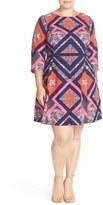 Vince Camuto Plus Size Women's Print Three-Quarter Sleeve Fit & Flare Dress