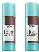 L'Oreal Root Cover Up Temporary Gray Concealer Spray, Medium Brown, 2 Count (Packaging May Vary)