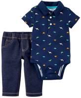 Carter's Baby Boy Dinosaur Bodysuit & Faux Denim Set