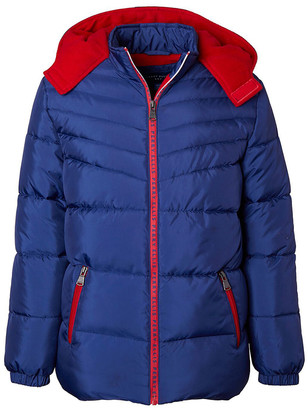 Perry Ellis Boys' Puffer Coats NAVY - Navy & Red Contrast Logo-Tape Hooded Puffer Coat - Toddler & Boys