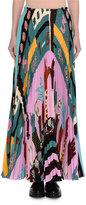 Valentino Counting Print Plisse Maxi Skirt