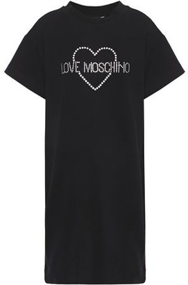 Love Moschino Crystal-embellished Stretch-cotton Fleece Mini Dress