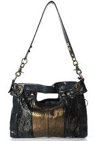 Hayden Harnett Black Gold Embossed Leather Single Strap Shoulder Handbag
