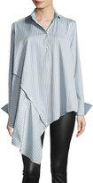 Palmer Harding palmer // harding Spicy Striped Detachable Asymmetric Cotton Shirt