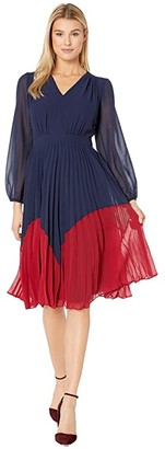 Maggy London Solid Chiffon Color Block Fit and Flare Dress (Navy/Majestic Scarlet) Women's Dress