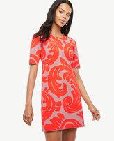 Ann Taylor Petite Fan Leaf Shift Sweater Dress