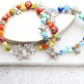 Millefiori Bish Bosh Becca Bead And Silver Charm Bracelet