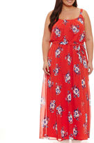 Robbie Bee Sleeveless Floral Maxi Dress-Plus