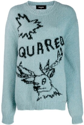 DSQUARED2 oversized embroidered motif sweater