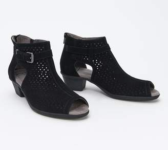 Earth Suede Perforated Peep-toe Booties - Marietta Seren