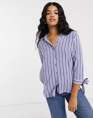 JDY Isabel 3/4 sleeve stripe shirt-Blue