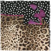 Dolce & Gabbana leopard & polka dot print scarf - women - Cashmere - One Size