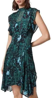 AllSaints Fleur Wing Pleated Dress