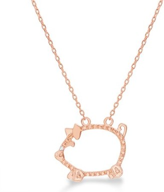 Lumineux Diamond Accent Beaded Pig Station Necklace in Rose Gold Plated Brass